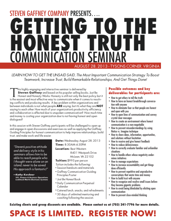 Getting to the Honest Truth seminar poster