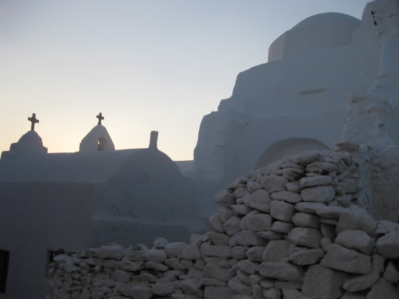 Sunrise over a historic religious site.