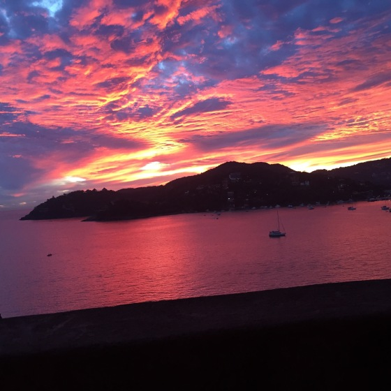 Zihuatanejo is known for its beautiful sunsets. Here is my last one. So goddessly.