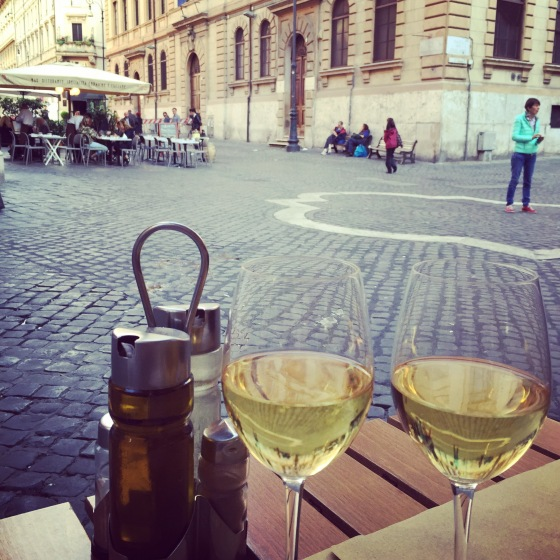 Wine for two in the Jewish Quarter.